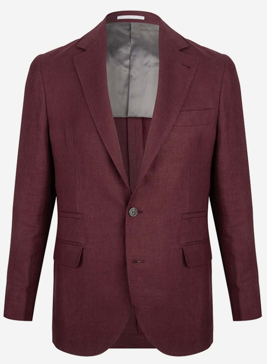 Brunello cucinelli Regular-fit jasje in linnen-zijde Bordeaux