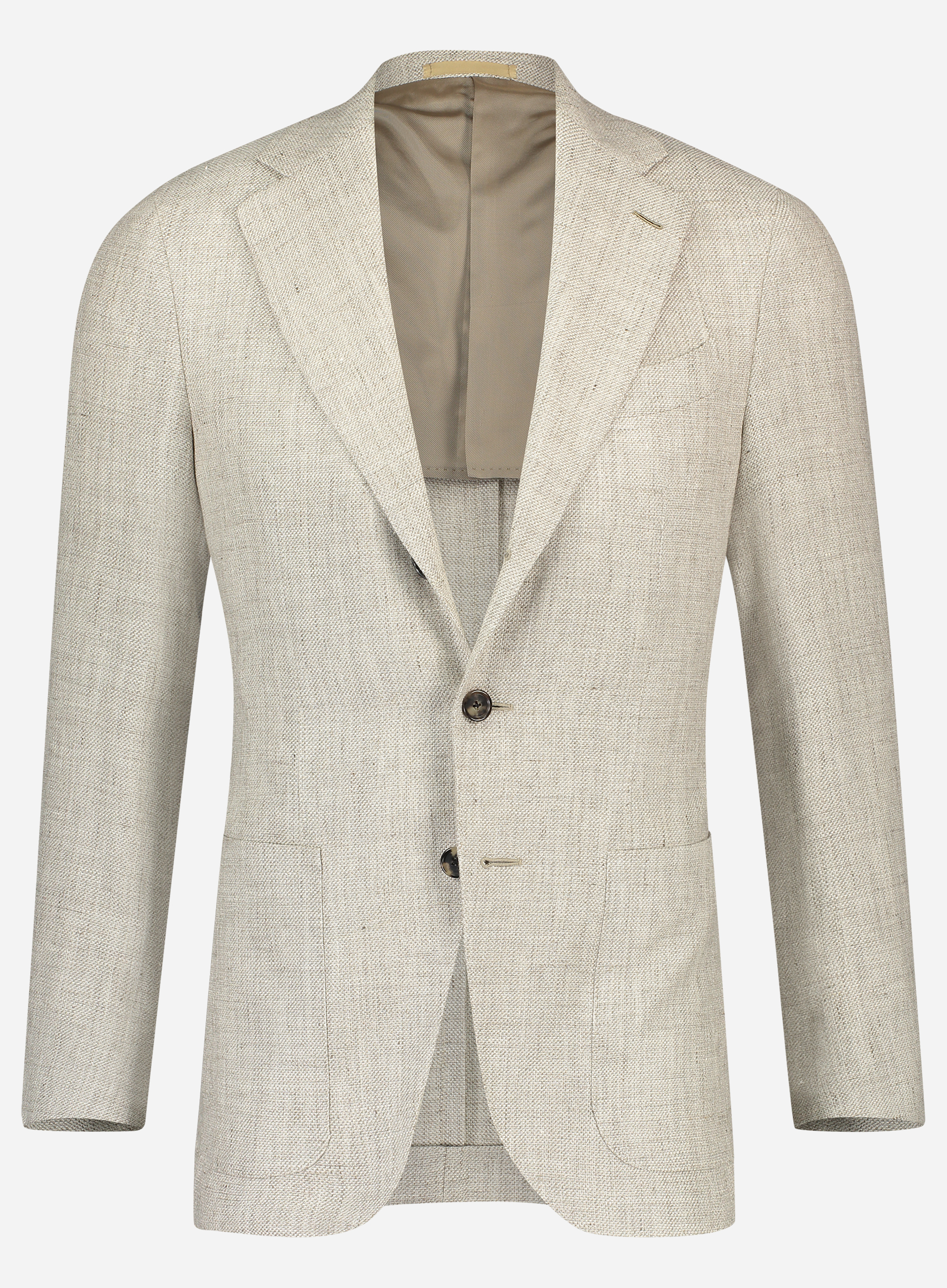 Caruso Regular-fit jasje in wol-linnen blend Beige