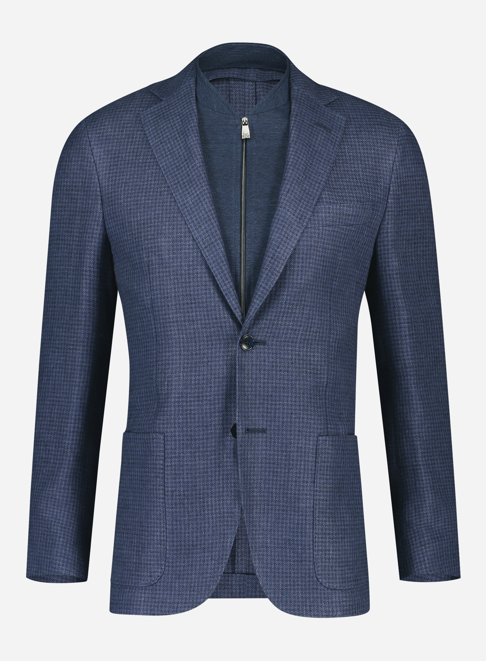 Corneliani Regular-fit ID jasje in linnen-wol blend Blauw