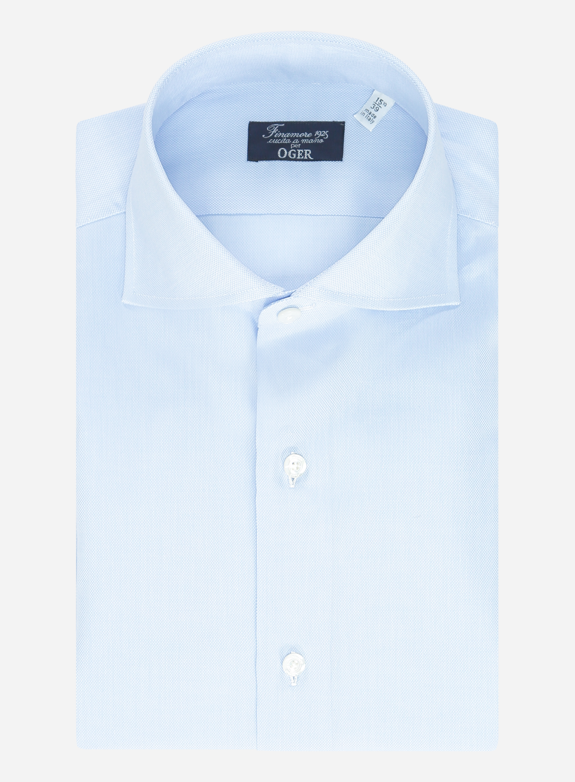Finamore Regular-fit oxford overhemd Lichtblauw