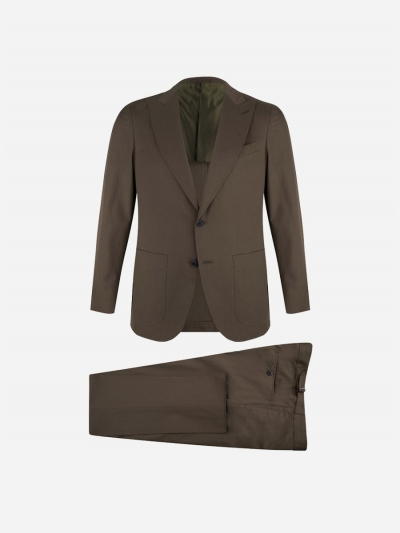 Regular-fit suit in cotton-stretch