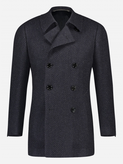Handgemaakte wol-cashmere double breasted mantel