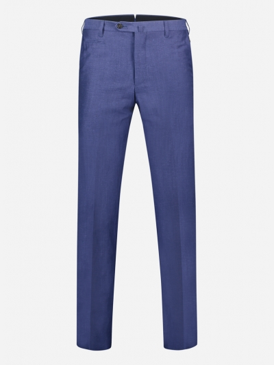 Regular-fit pantalon in wol-linnen blend