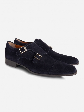 Suède double monk-strap 'William'