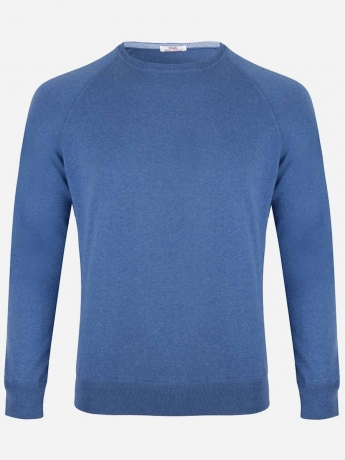 Slim-fit roundneck sweater in cotton-cashmere blend