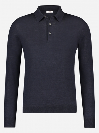 Slim-fit wol-zijde polo