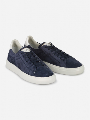 Suède leather-trimmed low-top sneaker