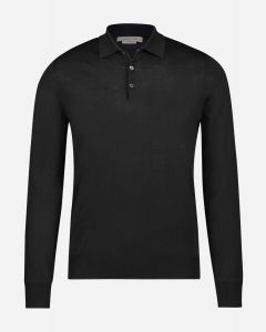Regular-fit polo shirt in wol-zijde-cashmere blend