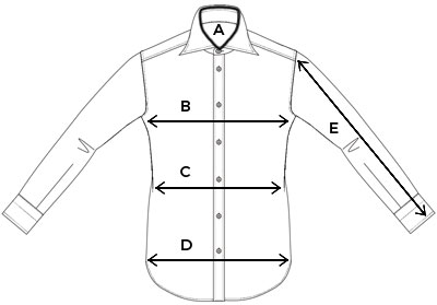 Size chart Finamore luxury mens shirts OGER